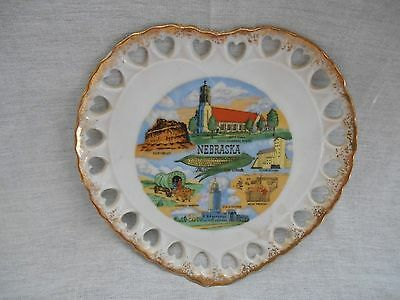 "Vintage Heart Shaped Nebraska State 6"" Hanging Souvenir Collector Plate"