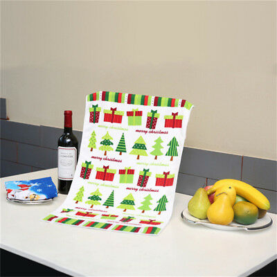 Christmas Gift Kitchen Dishcloth Printed Water Tea Towel Cleaning Duster Cloth