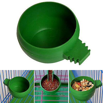 Green Plastic Round Bird Parrot Aviary Pet Cage Water Food Feeder Feeding Bowl