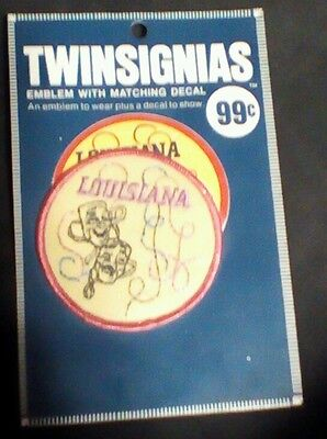 Vintage Twinsignia Louisiana Mardi Gras  Embroidered Emblem Matching Decal New