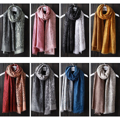 2017 New Winter Cotton Gradient Scarf Colorful Flower Womens Pashmina Shawl Wrap