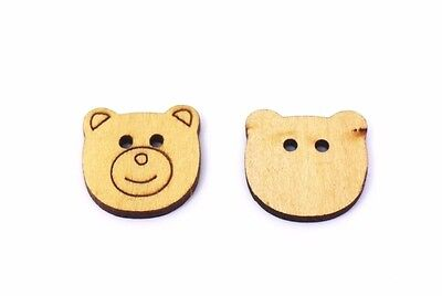 Teddy Bear Wooden Button 25mm 50pcs