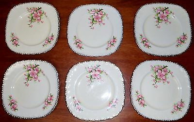 Vintage set of 6 Grindley small plates  Shabby Pink Cherry Blossom