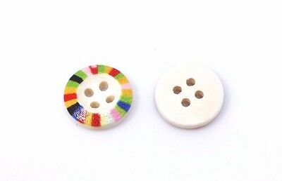 Rainbow Edge Wood Button 15mm 50pcs