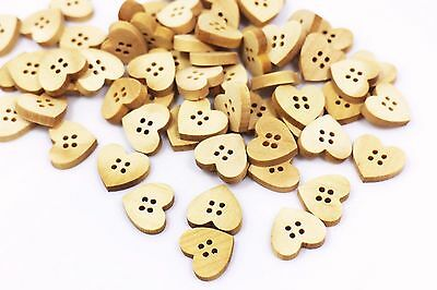Heart Wooden Button Heart-shaped Four Holes Natural Wood Color Small 15mm 20pcs