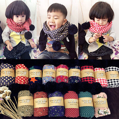 Korean Thicken Children's Scarf Neckerchief with Floral Cotton Ball Christmas