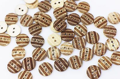 Tribal Pattern Coconut Button Small Striped Wave BOHO Ethnic Brown 11mm 100pcs