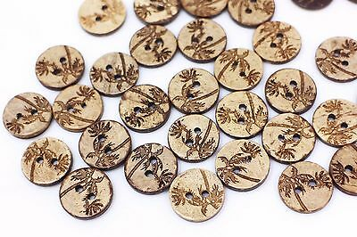 Coconut Tree Coconut Shell Button Brown Tree Pattern Two Holes Sewing 15mm 20pcs