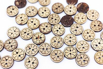 Flower Coconut Shell Button Floral Pattern Two Hole Round Small Brown 13mm 20pcs