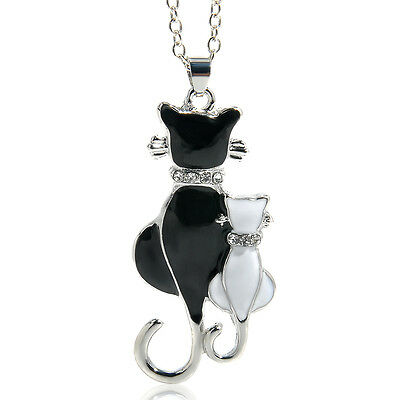 Stylish Fashion Women Silver Plated Cat Pendant Charming Chain Necklace Jewelry