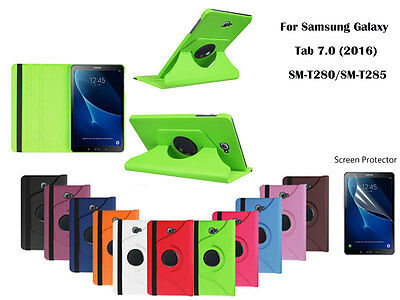Screen Protector/360°Rotate PU Leather case for Samsung Galaxy Tab A 7.0 (2016)