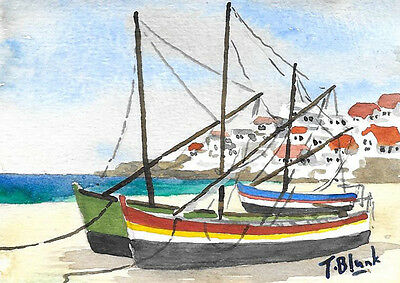 ORIGINAL AQUARELL - Fischerboote am Strand in Portugal.