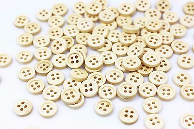 Mini Beige Wooden Button Small Tiny Four Holes Raised Edge Round Wood 10mm 20pcs