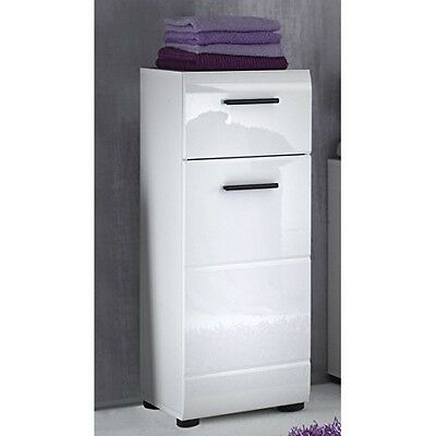 Bathroom Side Cabinet, High-Gloss White, Modern Design Furniture Storage Unit