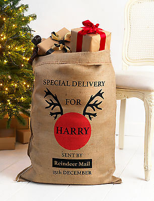 Personalised Christmas Santa Sack Xl Extra Large Hessian Traditional Stocking V1