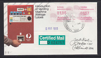 Antarctic Cover: 1988  Anare   Certified Mail.