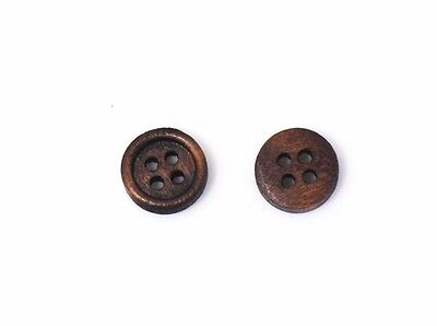 Mini Dark Brown Wooden Button 10mm 50pcs