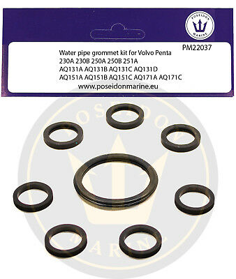 MD7B 18-0376 D7 MD6A MD7A Cooling Pipe Gaskets Volvo//Penta D6 MD6B