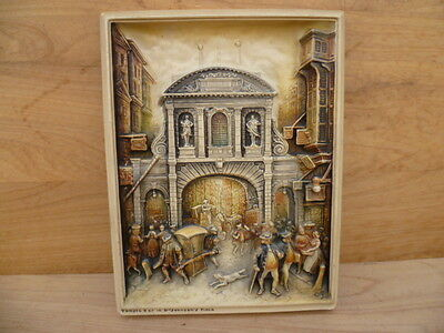 Vintage Old Early Plastic English Gothic Scene Wall Hanging, (B425)