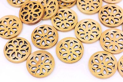 Brown Flower Cut Out Wooden Button Floral Filigree Two Holes Large 30mm 20pcs