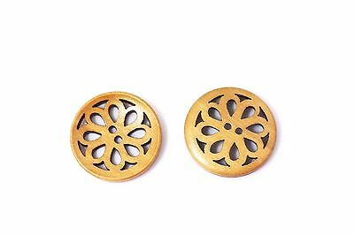 Brown Floral Filigree Wooden Sewing Button 30mm 50pcs