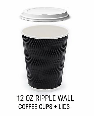 100 X Takeaway Coffee Hot Drink Ripple Paper Cups 12 Oz  With White Lids