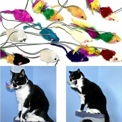 5 x Mouse With String Cat Kitten Random Colours Soft Toy Activity Dangler