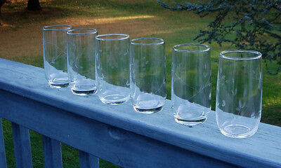 Set Of 6 Princess House Drinking Glasses Heritage Design Holds 12 Ounces Each