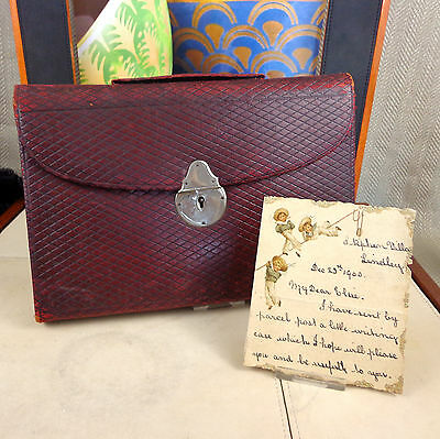 Antique Writing Case Folio 19th C Victorian Leather Travelling Inkwell Notebook