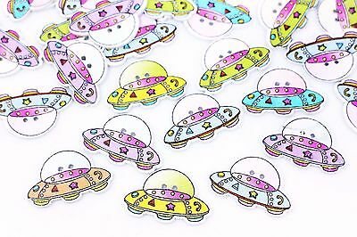 UFO Wood Sewing Button Cartoon Children Baby Sweater Decoration DIY 28mm 100pcs