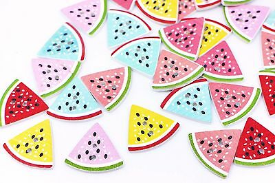 Watermelon Wooden Button Large Fruit Polka Dot Two Holes Child Baby 30mm 20pcs