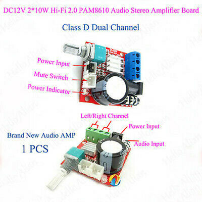 D Class Stereo Audio Power VerstärkerBoard Dual Channel 2*10W DC12v Hi-Fi Module