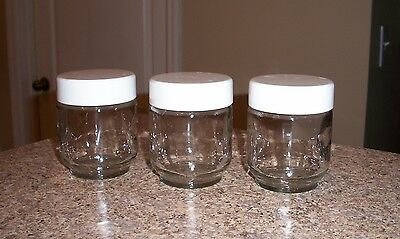 Lot of 3 Cuisine Yogurt Maker replacement extra jars with lids