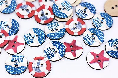 Coastal Wooden Sewing Button Blue Red White Seastar Lifebuoy Two Hole 25mm 20pcs