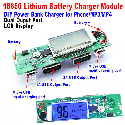 5V 1A 2A Dual USB LCD all-in-one Boost Lithium ion Batterie Charger Module Board