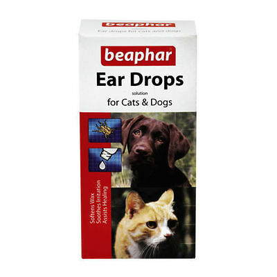 Beaphar Ear Drops For Cats And Dogs Kills Ear Mites, Soothes Healing Removes Wax