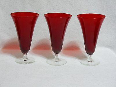 "Morgantown Majesty Ruby Red 6-7/8"" Iced Tea Glasses (3)"