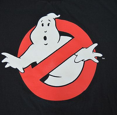 Ghostbusters Large Black T Shirt No Ghosts Movie Logo Throwback Retro