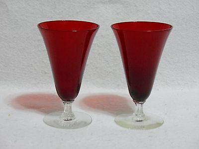"""Morgantown Majesty Ruby Red 5"""" Juice Glasses (2)"""