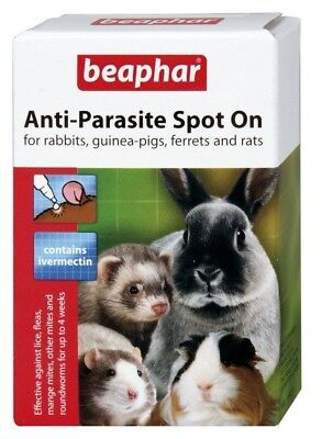 Beaphar Anti-Parasite Spot on Rabbit Guinea Pig Ferrets Wormer Lice Fleas