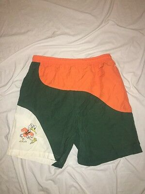 VTG MIAMI HURRICANE Mens Swim SUIT FOOTBALL Sz L