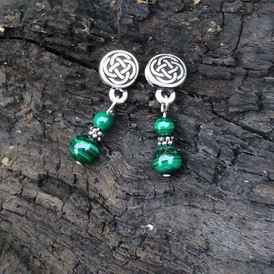 Malachite Celtic stud earrings. Sterling silver on pewter. Irish made jewellery