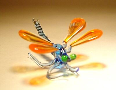 Blown Glass Art Insect Figurine Small Orange and Blue DRAGONFLY