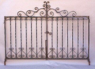 1920s Spanish Revival Antique Wrought Iron Double Gate Vintage Outdoor (9646)