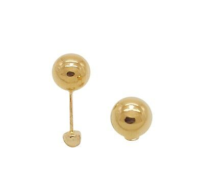 14K Solid Yellow Gold Ball Screw Back Stud Earrings Oro Aretes Dorados Jewelry