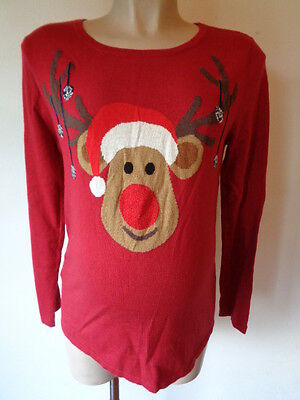 Next Maternity Red Reindeer Christmas Jumper Xmas Size 10 & 14 Bnwt