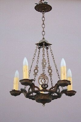 1920s Antique Spanish Revival 5 Light Chandelier Vintage Tudor Hammered (9708)