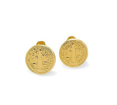 San Benito 14K Solid Yellow Gold Ball Screw Back Stud Earrings Oro Aretes Dorado
