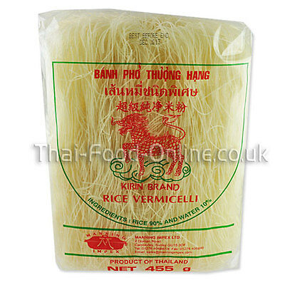 Authentic Thai Rice Vermicelli Noodles (455g) by Kirin - UK Seller