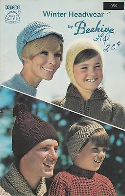 Winter Headwear by Beehive (B) knitting book adult & child hats toques berets